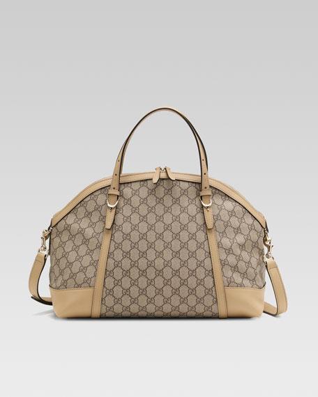 Nice GG Supreme Canvas Top-Handle Bag, Cream