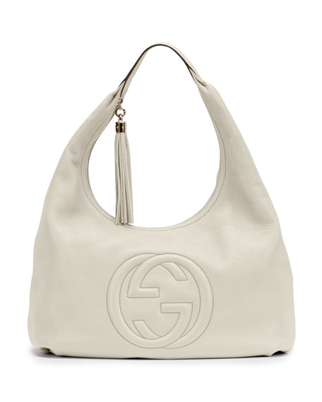 Soho Leather Hobo, White