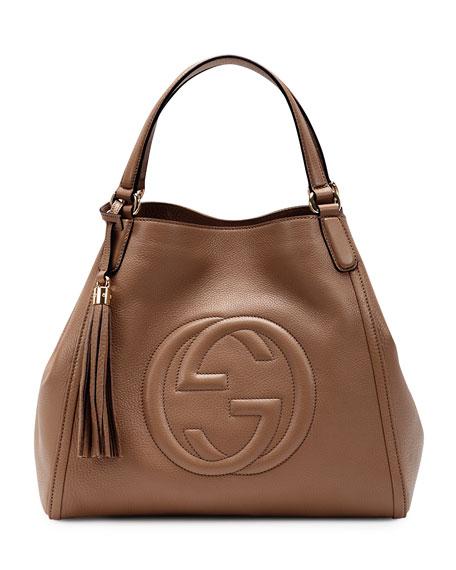 Soho Leather Shoulder Bag, Brown