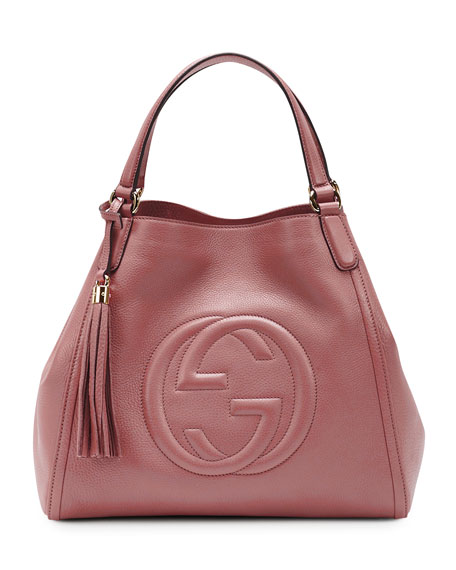 Soho Leather Shoulder Bag, Rose