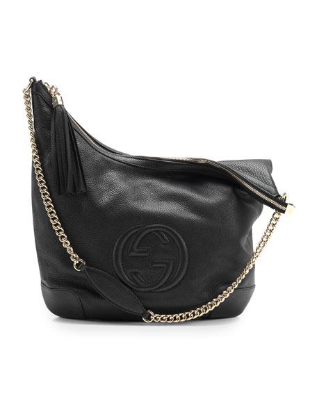 Soho Leather Chain-Strap Shoulder Bag, Black
