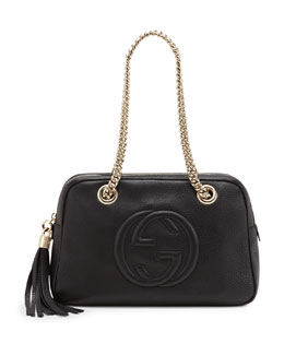 Gucci Soho Leather Double-Chain-Strap Shoulder Bag, Black