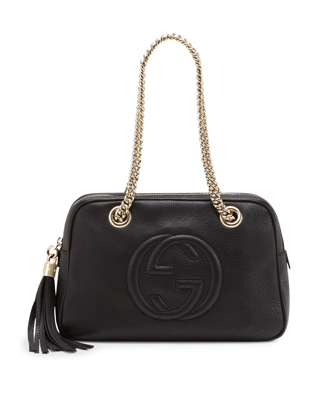 f68314c37e0984 Gucci Soho Leather Double-Chain-Strap Shoulder Bag | Neiman Marcus