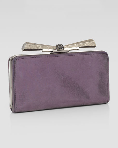 Carrie Metallic Leather Clutch Bag, Purple