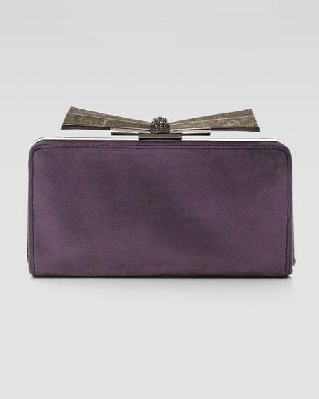 Carrie Metallic Leather Clutch Bag, Purple