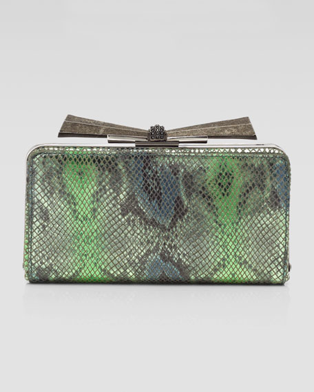 Carrie Snake-Embossed Leather Clutch Bag, Green