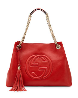 Gucci Soho Leather Medium Chain-Strap Tote, Red