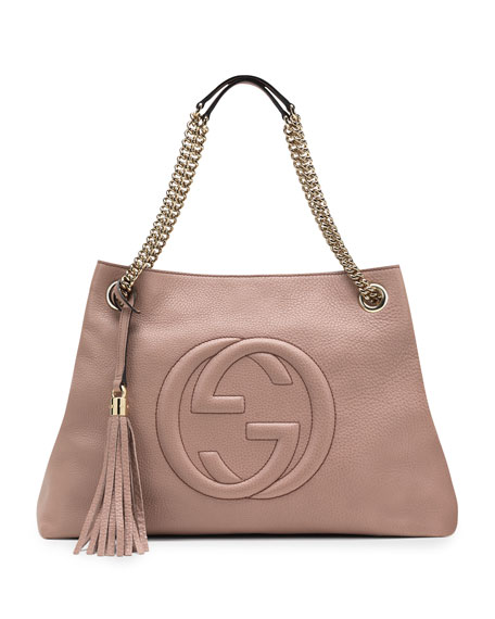 1007fc6f7426 Gucci Soho Leather Chain-Strap Tote, Nude | Neiman Marcus