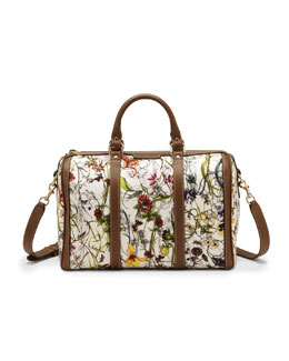 Gucci Vintage Web Floral Canvas Boston Bag