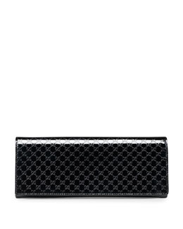 Gucci Broadway Microguccissima Patent Leather Evening Clutch, Black
