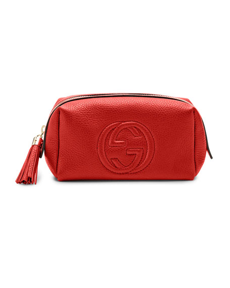 Soho Medium Leather Cosmetic Case, Red