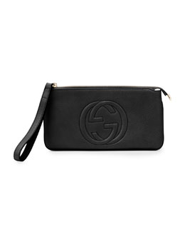 Gucci Soho Leather Wrist Wallet, Black