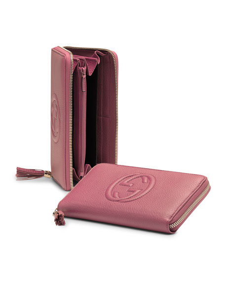 Soho Leather Zip-Around Wallet, Vintage Rose