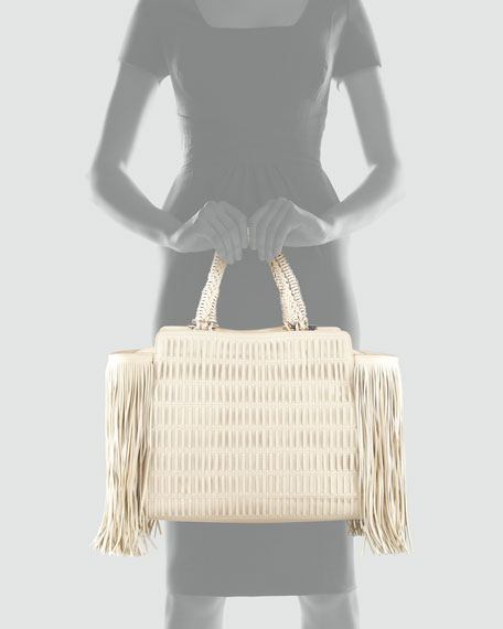 Arianna Fringe-Trim Woven Leather Satchel