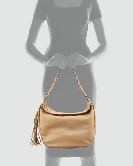 Mel Braided-Strap Hobo Bag, Desert