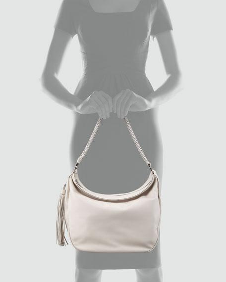 Mel Braided-Strap Hobo Bag, Ash