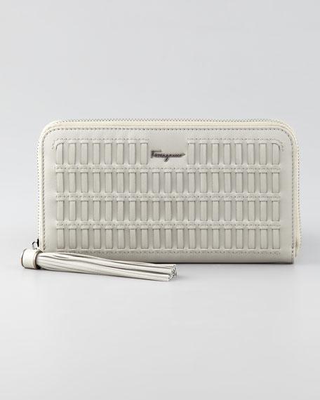 Woven Zip-Around Wallet, Clay