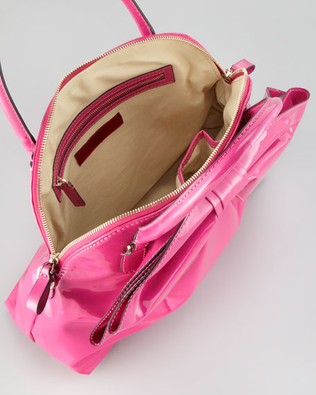 Lacca Dome Bow Bag, Fuchsia