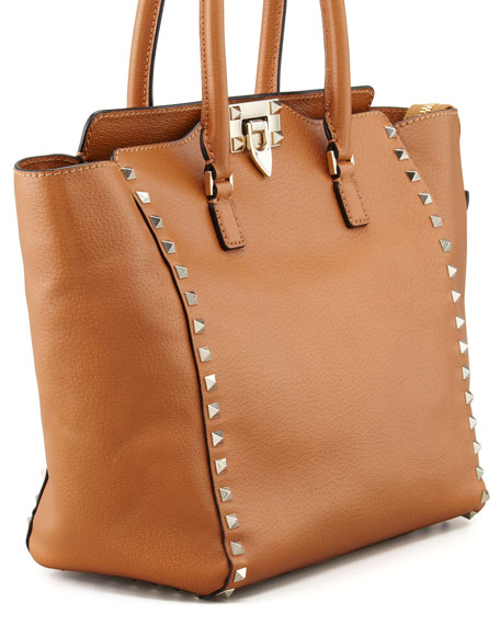 Rockstud Medium Shopper Tote, Beige