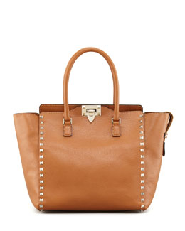 Valentino Rockstud Medium Shopper Tote, Beige