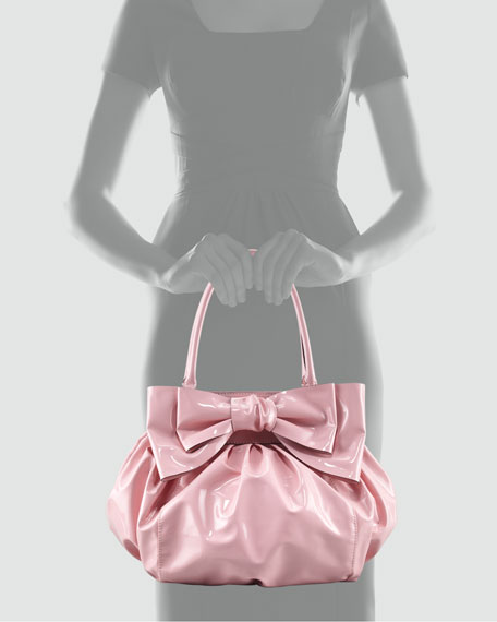 Valentino Double-Handle Lacca Bow Bag, Light Pink