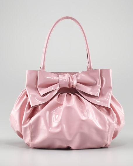 Double-Handle Lacca Bow Bag, Light Pink
