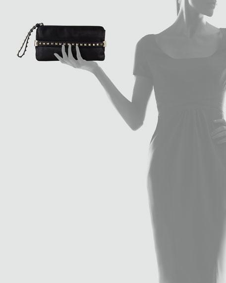 Rockstud Wristlet Clutch Bag, Black
