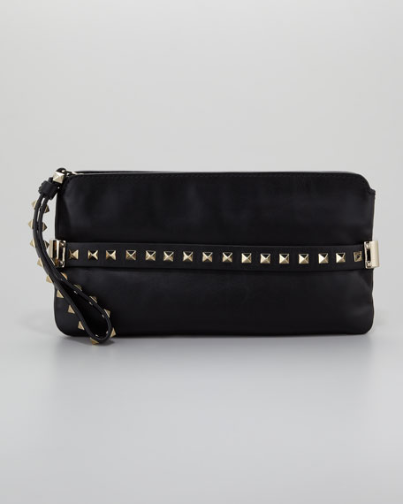 Rockstud Wristlet Clutch Bag, Black