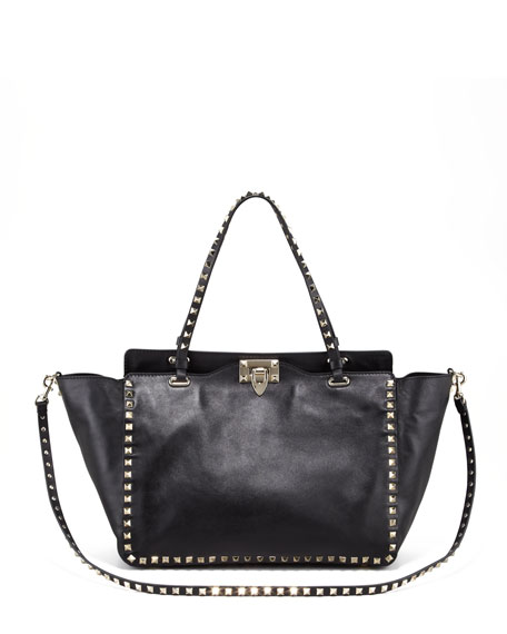 Rockstud Medium Tote, Nero