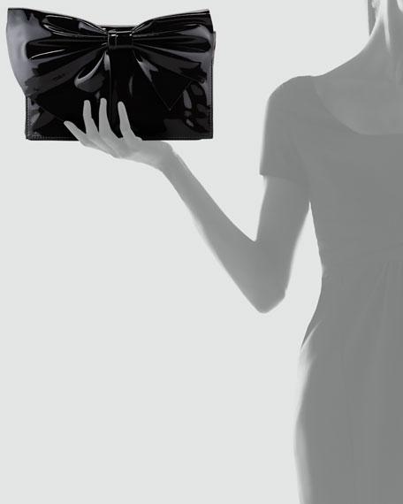 Lacca Bow Clutch Bag, Black