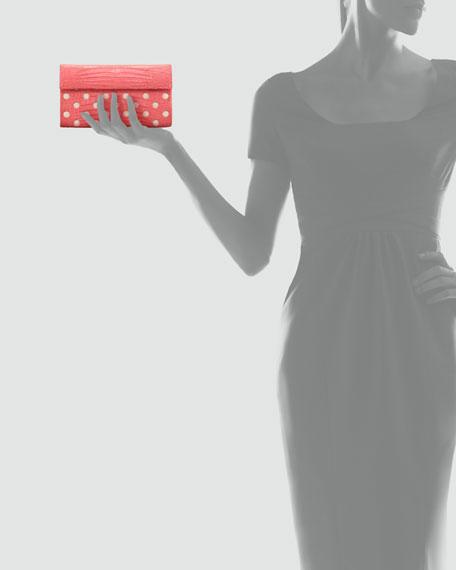 Crocodile Dot Clutch Bag, Pink