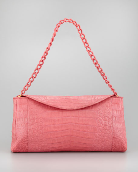 Crocodile Chain Clutch Bag, Pink