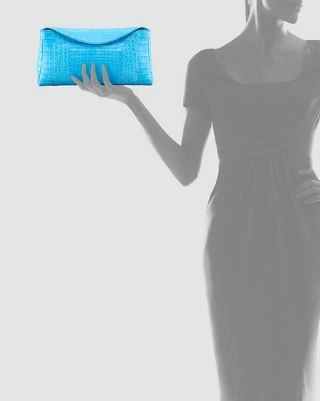 Crocodile Chain Clutch Bag, Blue