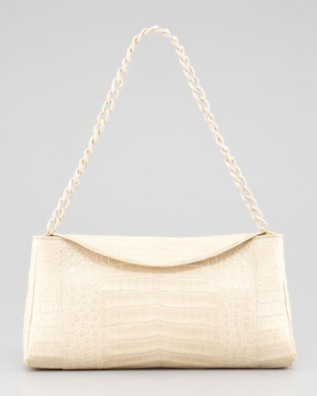 Crocodile Chain Clutch Bag, Nude