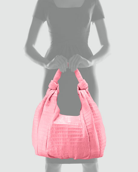 Crocodile Hobo Bag, Pink