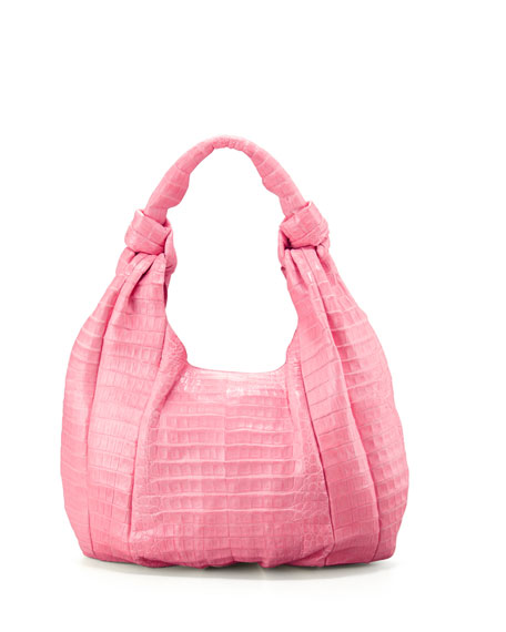 Nancy Gonzalez Crocodile Hobo Bag, Pink