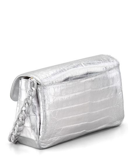 Crocodile Compartmentalized Crossbody Bag, Silver