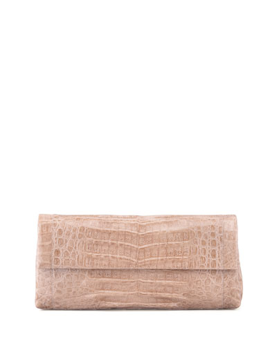 Nancy Gonzalez Crocodile Flap Clutch Bag, Nude