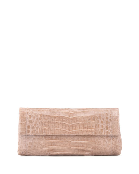 Crocodile Flap Clutch Bag, Nude