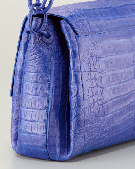 Crocodile Chain Shoulder Bag, Blue