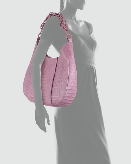 Crocodile Chain Hobo Bag, Lilac
