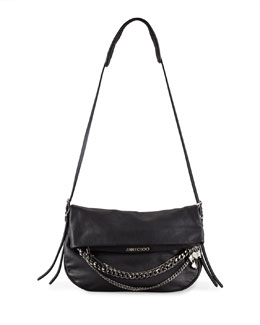 Jimmy Choo Biker Chain-Detailed Shoulder Bag, Black