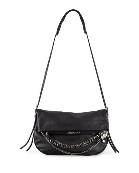 Jimmy Choo Biker Chain-Detailed Shoulder Bag, Black