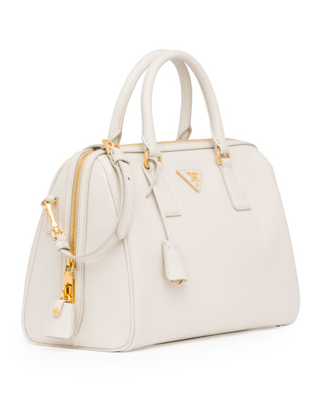 Saffiano Bowler Bag with Strap, White (Talco)