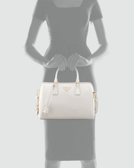 Saffiano Bowler Bag with Strap, White (Talco)