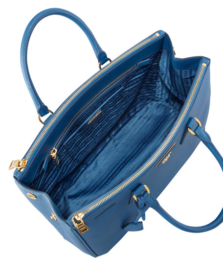 Medium Saffiano Double-Zip Executive Tote Bag, Cobalt (Cobalto)