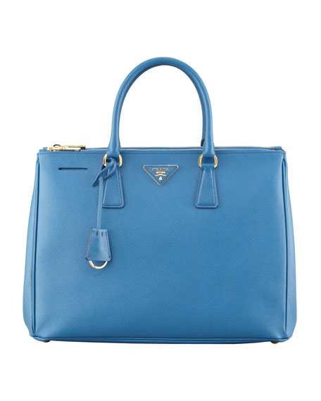 Prada Medium Saffiano Double-Zip Executive Tote Bag, Cobalt