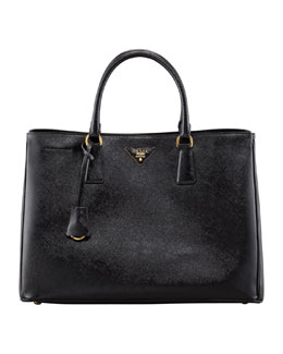 Prada Saffiano Vernice Gardener's Tote Bag, Black (Nero)