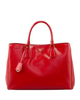 Prada Saffiano Vernice Gardener's Tote Bag, Red (Rosso)
