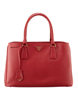 Prada Saffiano Small Gardener's Tote Bag, Red (Fuoco)